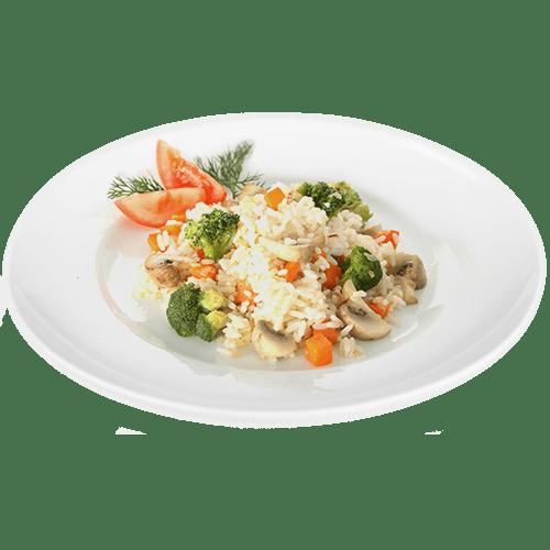 """Рис с овощами <p style=""""color:#FF0000"""">200 г.</p>"""